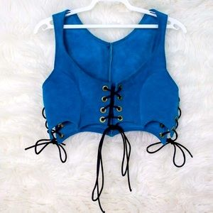 Leather Teal Blue Corset Bustier top sz XS SMALL